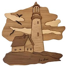 Mid-century Modern Marquetry Lighthouse Scene with Birds Signed by Artist