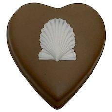 Vintage Wedgewood Jasperware Heart Shaped Taupe Seashell Trinket Box