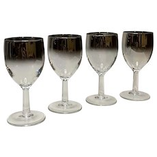 Mid-Century Modern Silver Ombre Petite French Wine Glasses Set of 4