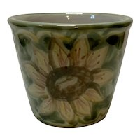 "Vintage Louisville Stoneware Sunflower Painted 4"" Herb Pot"