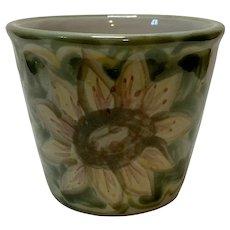 "Vintage Louisville Stoneware Sunflower Painted 4"" Herb Pot"