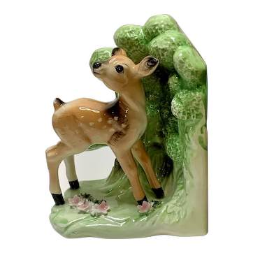 Rare Fawn Deer Porcelain Bookend with Flowers and Bushes