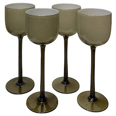 Mid-Century Modern Carlo Moretti Brown Cased Wine Glasses Set of 4