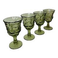 Vintage Green Fostoria Argus Pattern Glasses set of 4