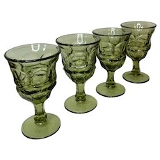 Vintage Green Fostoria Argus Pattern Glasses set of 4