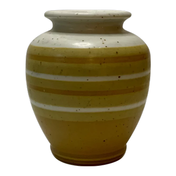 Vintage Hand-Painted Mustard Yellow Striped Stoneware Vase