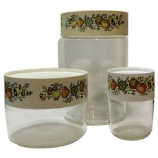 Vintage Pyrex Spice of Life Glass Storage Containers Set of 3