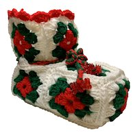 Vintage Crocheted Christmas Boot Stocking White Red Green Granny Square