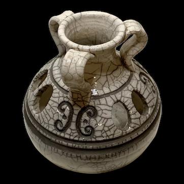 Raku Fired Studio Pottery Vase with White Crackle Glaze
