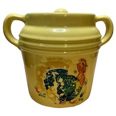 Vintage Yellow Ware Cookie Jar with Turkey Label