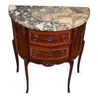 1880s French Louis XV Walnut & Satinwood Inlay Marble Top Commode / Nightstand