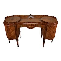 1900s Antique French Louis XVI Satinwood & walnut inlay vanity ladies desk