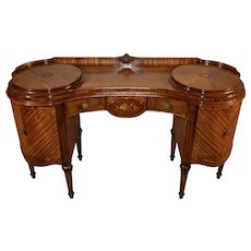 1900s Antique French Louis XVI Satinwood & walnut inlay vanity ladies desk