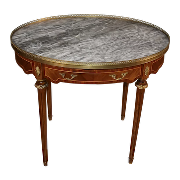 1920 Antique French Louis XVI Walnut Satinwood inlay Oval Marble top side table