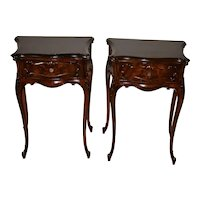 1910s Pair of Antique French Dark Walnut Small Nightstands / Bedside Tables