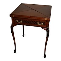 1880s Antique English Mahogany Envelope Game table unfolds extends
