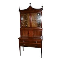 1920 English Sheraton Mahogany secretary desk hutch display cabinet bookcase