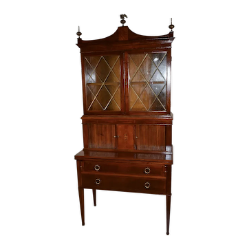1920 English Sheraton Mahogany secretary desk hutch display cabinet bookcase