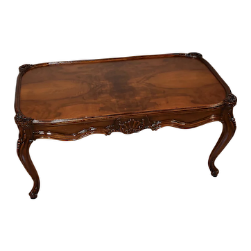 1920s Antique French Louis XV carved Walnut & Burl Walnut top Coffee Table