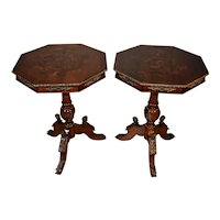 1920 Antique Pair of Regency Mahogany inlaid side tables / end tables