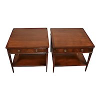 1950s Pair of G.T.Rackstraw English Regency Mahogany Side tables / Nightstands