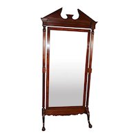 Vintage  chippendale style Mahogany claw foot large Swivel mirror