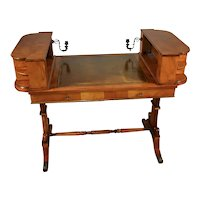 1900s Antique English Regency Burl Walnut & Leather top writing desk