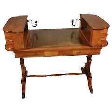 1900s Antique English Regency Burl Walnut & Leather top writing desk