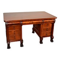 1840s Antique American Empire Solid Mahogany partner Writing desk / office desk