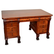 1840s Antique American Empire Solid Mahogany partner Writing desk / office desk