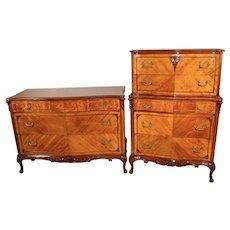 1910s set of Antique French Light brown  satinwood High Dresser & low dresser