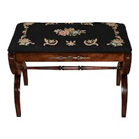 1930s Regency Mahogany Piano Bench with original needlepoint