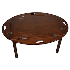 1930s Chippendale Mahogany butler Coffee table with removable tray top
