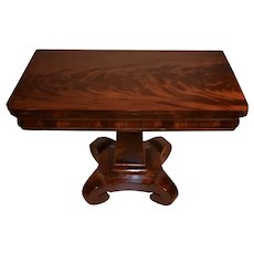 1840s Antique American Empire  crotch Mahogany flip top Game Table / Console Table