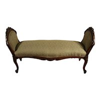 1890s Antique French Louis XV carved Walnut spring-seat window bench new fabric