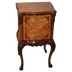 1910s Antique French carved Satinwood Nightstand / bedside table