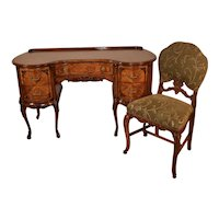 1910s Antique French Satinwood Kidney shaped Desk Vanity Ladies Desk & Walnut Chair