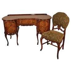 1910s Antique French Satinwood Kidney shaped Desk Vanity Ladies Desk & Walnut Chair