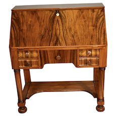 1890s Antique American Empire Burl Walnut secretary desk , Original key