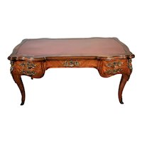 1880s Antique French Louis XV Walnut & Red Leather Top Writing desk office Desk