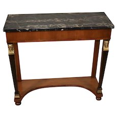 1920s Antique French Empire Mahogany Marble top & Bronze console table