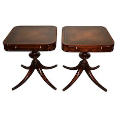1910s Antique Weiman English Regency Mahogany Leather top side tables end tables