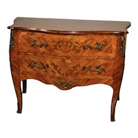 1920 Antique French Louis XV Walnut & Satinwood floral inlaid Commode / dresser