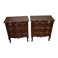 1930s Pair of Country French Solid dark Mahogany nightstands / bedside tables
