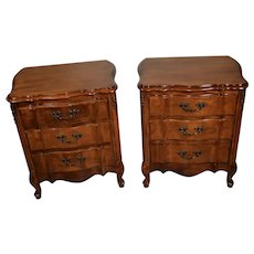 1920 Antique French Provincial Peach wood Nightstands / Bedside tables
