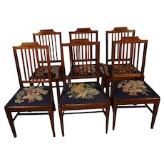 1900s Antique English Sheraton Mahogany Needlepoint set of dining room 1 arm & 5 Side chairs