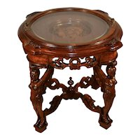 1910s Antique Walnut carved Knight & figures coffee table with Removable tray