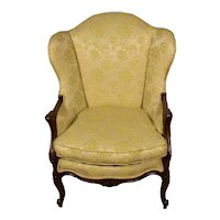 1910s Antique French Louis XV carved Walnut wingback Living room Chair