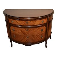 1910s Antique French Louis XV Satinwood Banded Mahogany demilune commode chest