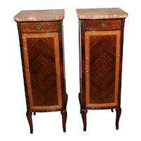 1890s Antique French Louis XVI Walnut & Satinwood Marble top Pair lingerie stand